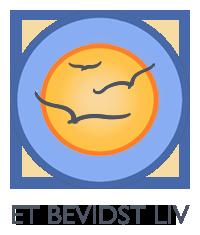 Logo for et bevidst liv. Sol med fugle på blå himmel.