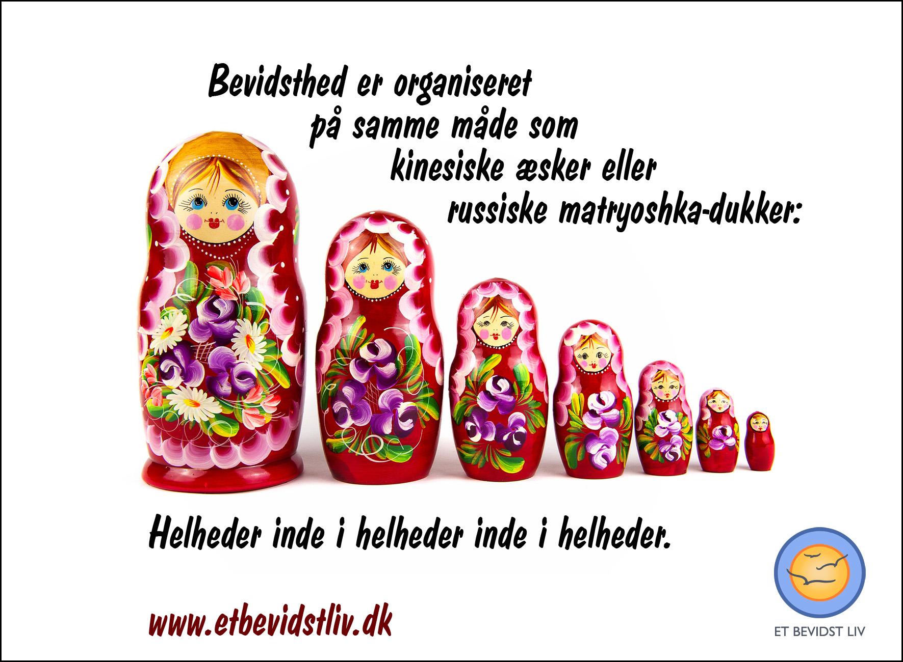 Foto af russiske matryoshka-dukker. Tekst: Bevidsthed er organiseret som helheder inde i helheder inde i helheder.