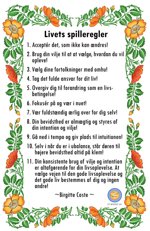 Livets spilleregler af Birgitte Coste, Et Bevidst Liv