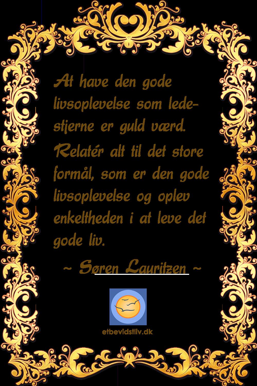 Tekst i en guldfarvet ramme: At have den gode livsoplevelse som ledestjerne er guld værd.