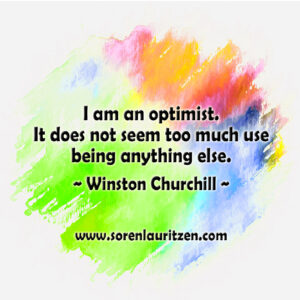 Maleri: Forskellige farver på hvid baggrund. Tekst: Citat af Curchill om optimisme.