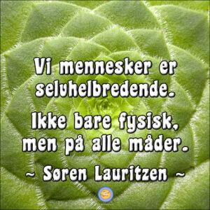 Foto: Nærbillede af en symmetrisk plante. Tekst: Vi mennesker er selvhelbredende - på alle måder.