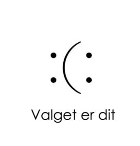 Sur og glad smiley. Du vælger, hvad du ser.